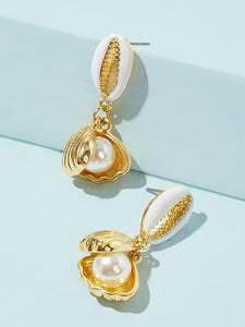 White Faux Pearl Decor 1pair Gold Shell Drop Dangle Earrings
