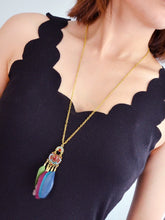 Load image into Gallery viewer, Multicolored Feather Long Pendant With Golden Chain Necklace