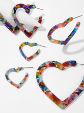 Load image into Gallery viewer, Multicolor 3pairs Marble Pattern Silver Metal Open Heart Hoop Earrings