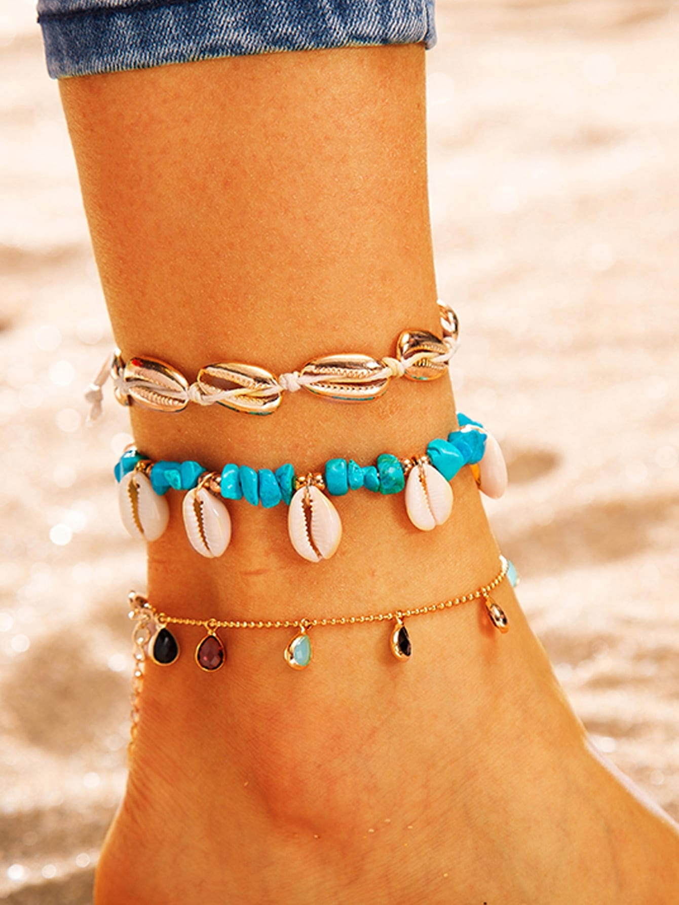 3pcs Multicolored Shell & Water Drop Charm Golden Chain Anklet