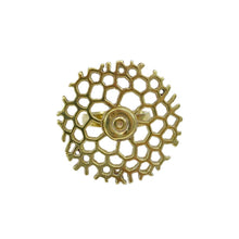 Load image into Gallery viewer, Handmade Bombshell Honeycomb Adjustable Brass Ring
