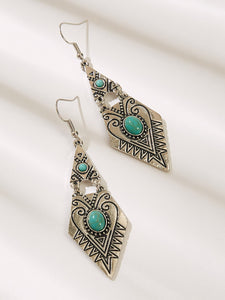 Multicolor 1pair Turquoise Decor Textured Metal Drop Dangle Earrings