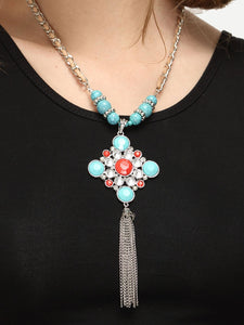 Multicolour Round Tassel Pendant Necklace With Turquoise Gemstone