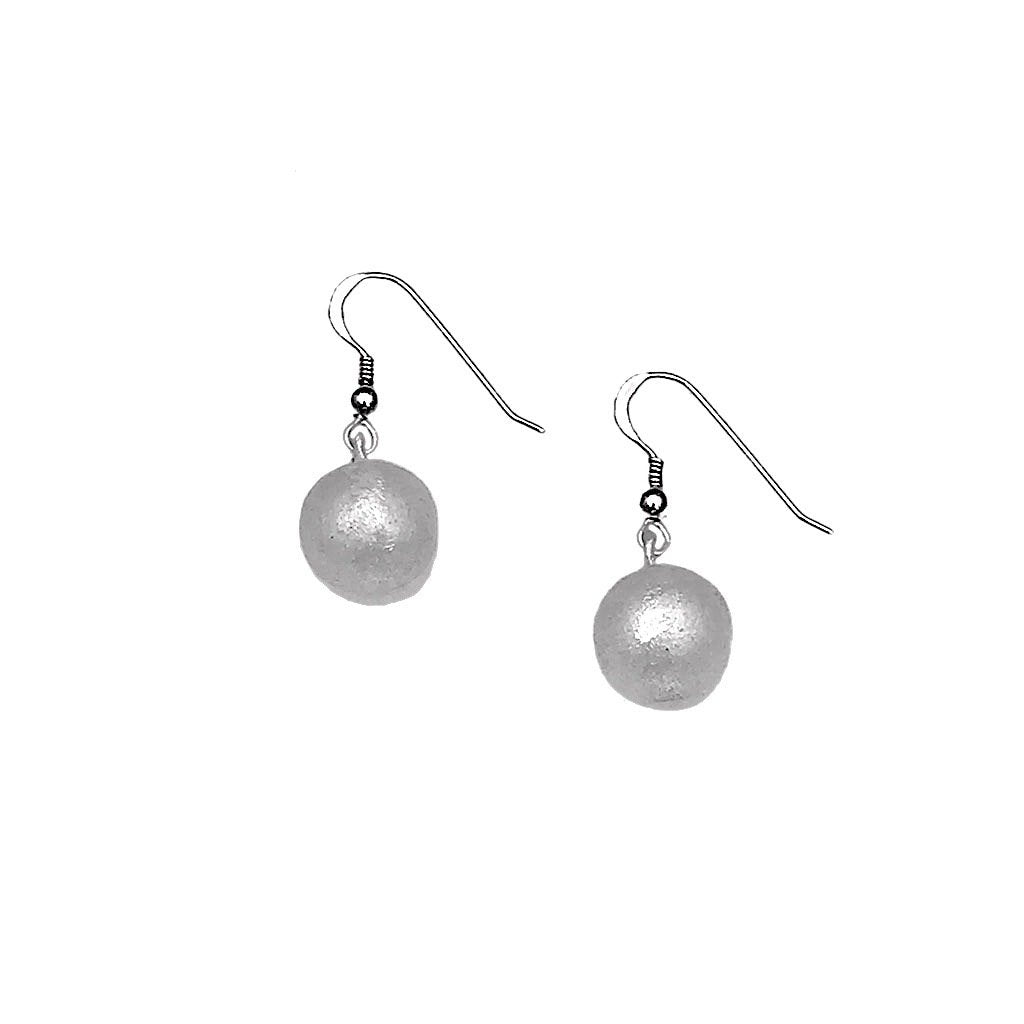 Silver Bomb Ball Recycled Aluminum Earrings