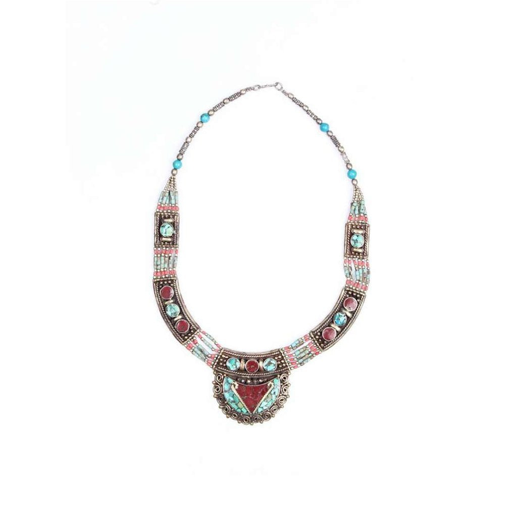 Multicolored Gemstones With Turquoise Tribal Hmong Necklace