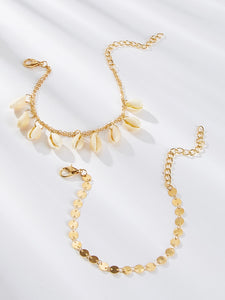 Golden Shell & Disc Decor 2pcs Chain Anklet