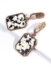 Load image into Gallery viewer, Black And White Cow Pattern Square Drop 1 Pair Earrings