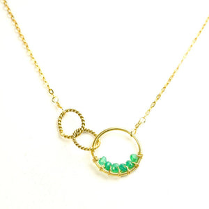 Twisted Green Onyx Beaded Link Rings Gold Necklace