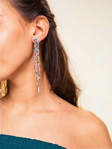 1pair Multicolor Rhinestone Gold Tassel Drop Dangle Earrings