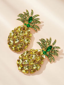 Green And Yellow Pineapple Shaped Gemstone Engraved 1 Pair Stud Earrings