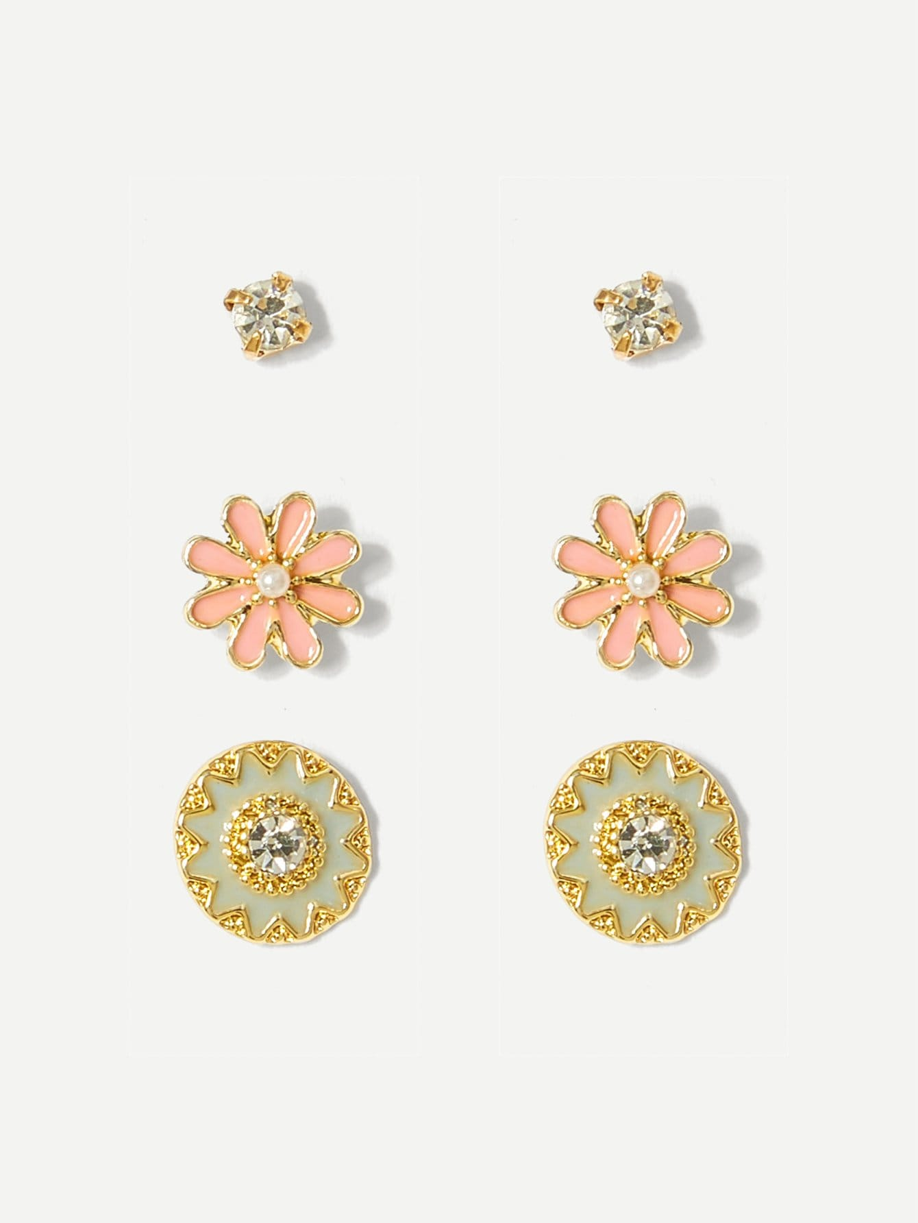 3 Pairs Pink And Golden Gemstone Flower Shaped Stud Earrings