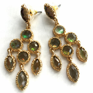 Multicolor Crystal & Gold Chandelier Dangle Earrings