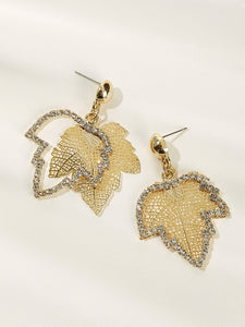 Gold Leaf Shaped Rhinestone Engraved & Hollow Out 1pair Drop Earrings