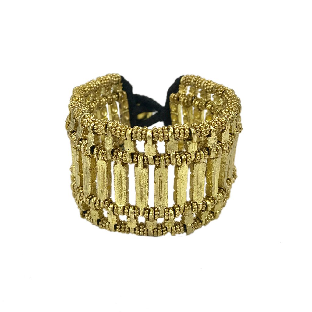 Golden Beads With Cotton Thread Kada Cuff