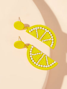 Lemon Yellow With White Beaded Dangle 1 Pair Earrings