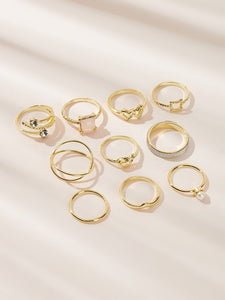 Golden 10pcs Heart & Twist Detail Gemstone Ring