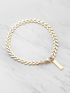 Golden Leaf Shaped Metallic Link Chain Bracelet