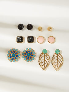 Multicolor 6pairs Hollow Leaf & Marble Pattern Gold Stud Earrings