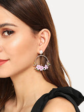 Load image into Gallery viewer, Multicolored Flower With Pearl Golden Hoop 1 Pair Drop Earrings