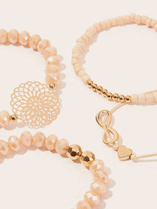Pink And Golden Beaded Infinity & Hollow Round 4pcs Bracelet