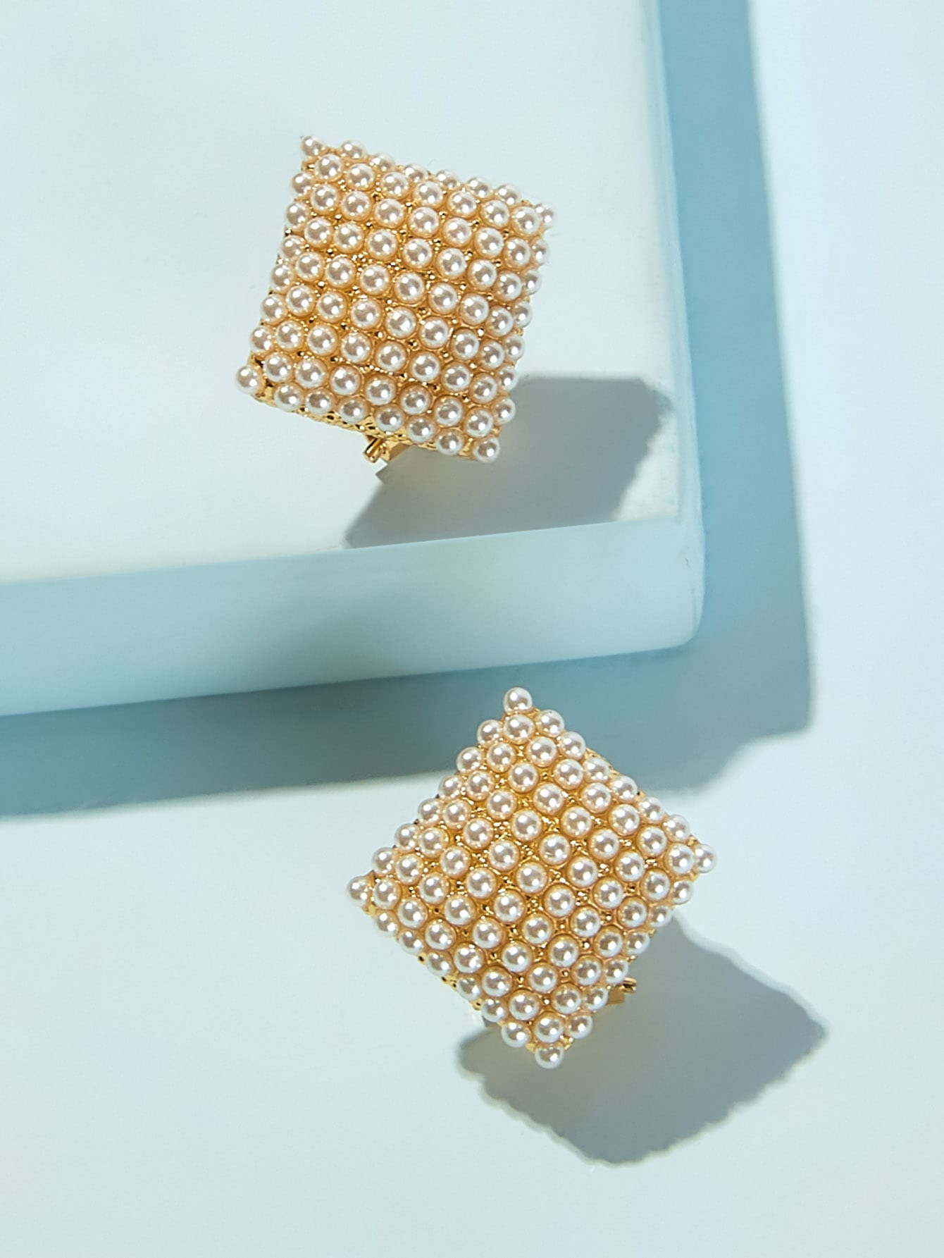 Golden Square Stud With Engraved Faux Pearl 1 Pair Earrings