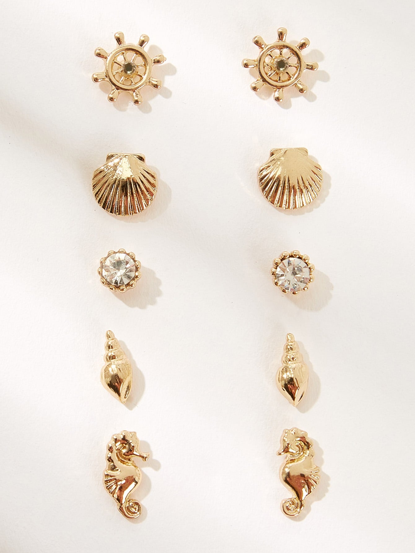 Golden 5pairs Shell Decor Metal Stud Earring