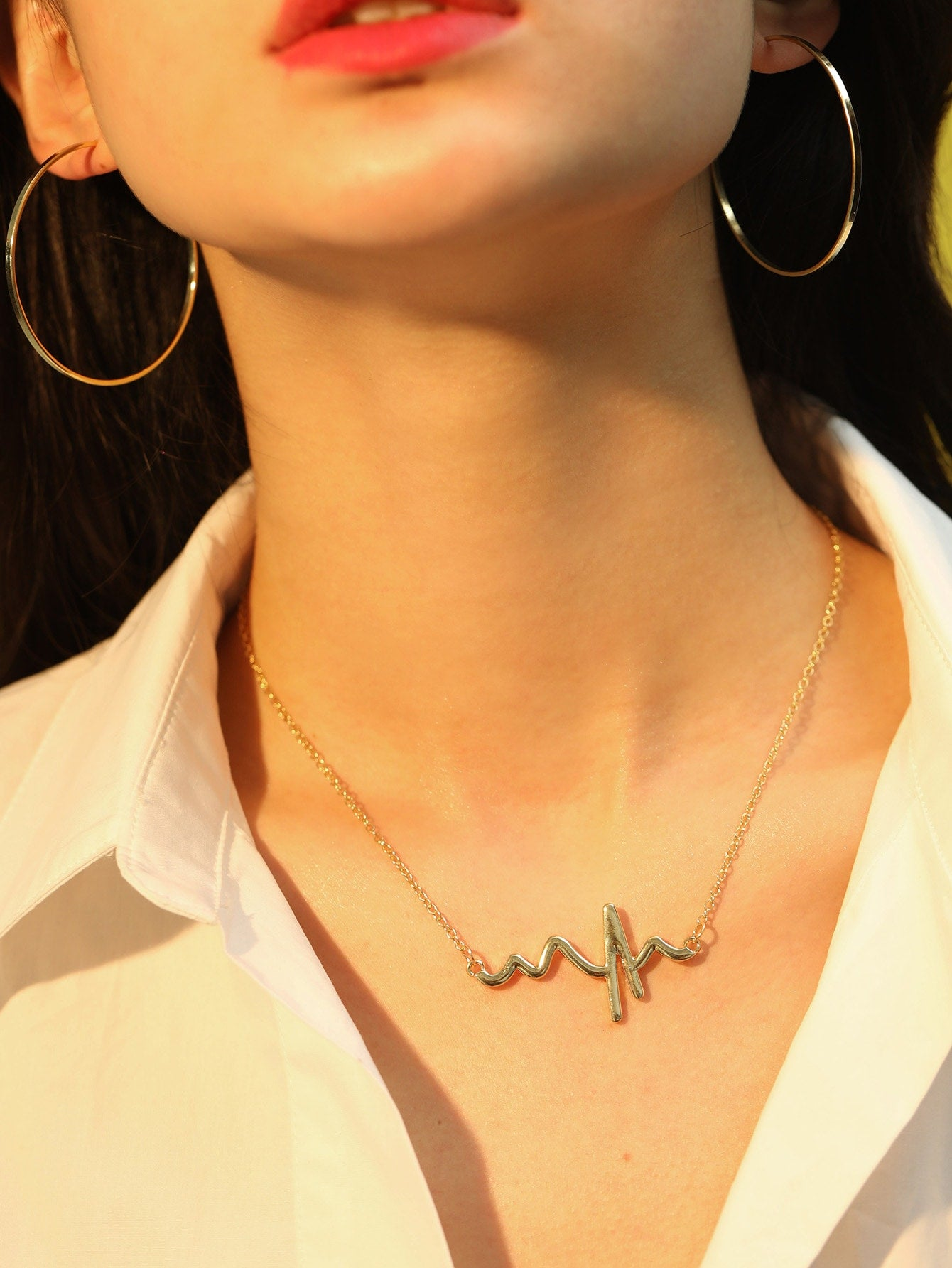 Golden Heartbeat Pendant With Chain 3pcs Necklace & Hoop Earrings
