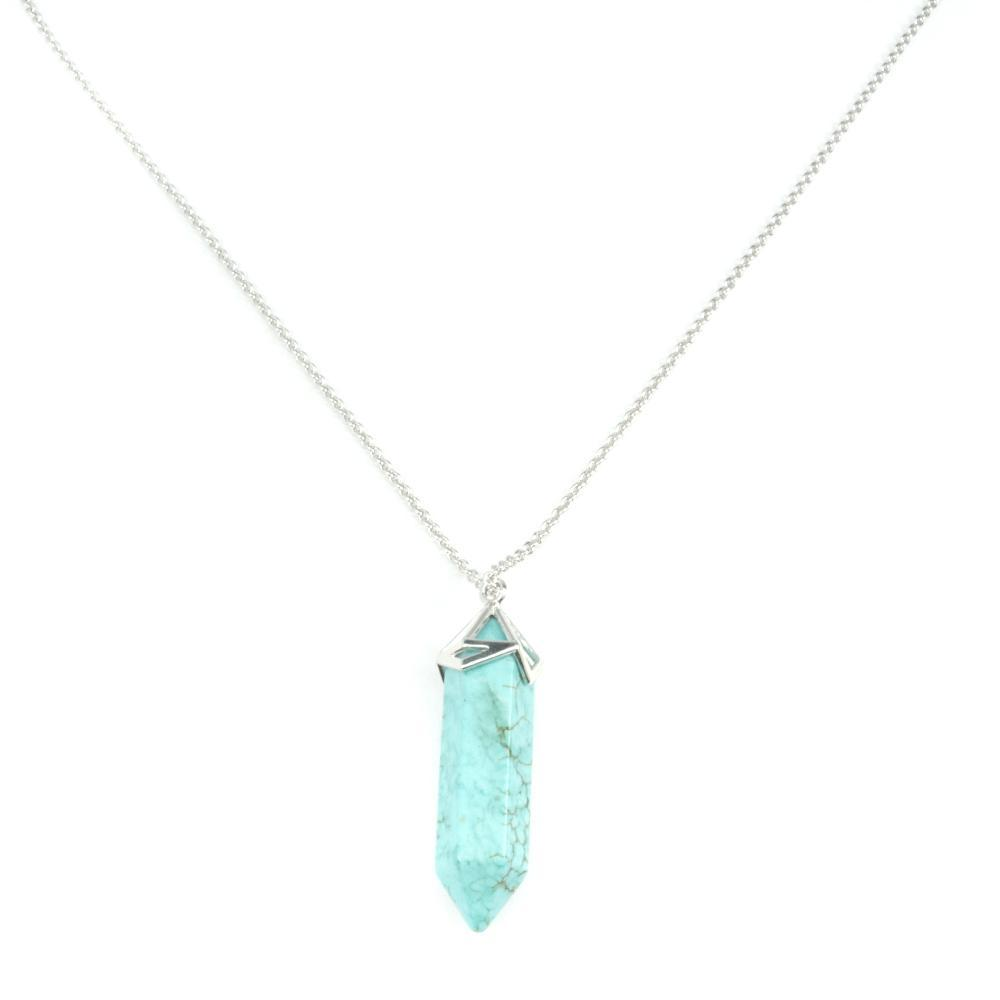 Gemstone Point Necklace With Silver Plated Chain
