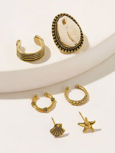 6pcs Golden And Black Shell & Starfish Shaped Stud Earrings