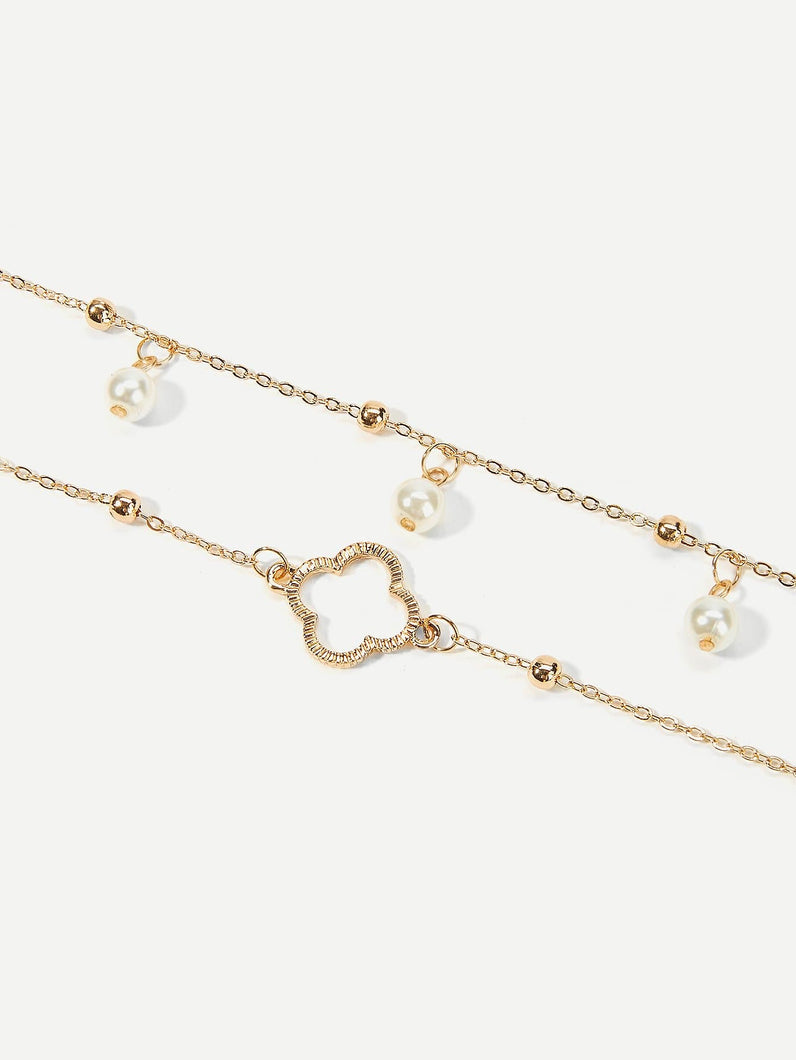 2 Layered Golden Clover Chain Anklet