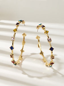Multicolored Cuff Gemstone Engraved 1 Pair Hoop Earring