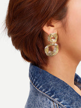 Load image into Gallery viewer, 1 Pair Golden Double Hoop Textured Dangle Earrings