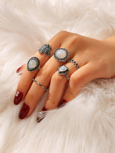 Load image into Gallery viewer, Grey 6pcs Lotus & Heart Gemstone Silver Metal Ring