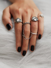 Load image into Gallery viewer, Grey 4pcs Moon Design Silver Metal Ring Set