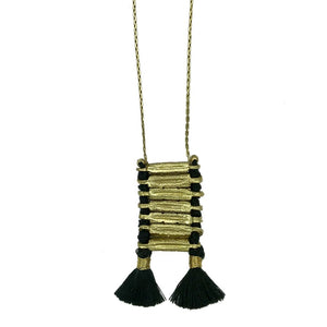 Anika Bohemian Black Temple Necklace With Cotton Tassels