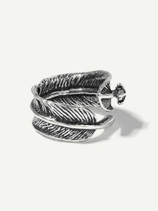 1pc Grey Feather Shaped Silver Metal Ring