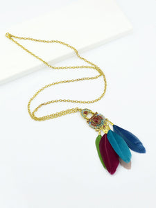 Multicolored Feather Long Pendant With Golden Chain Necklace
