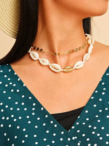 Golden Double Layered Shell & Disc Decor 1pc Chain Necklace