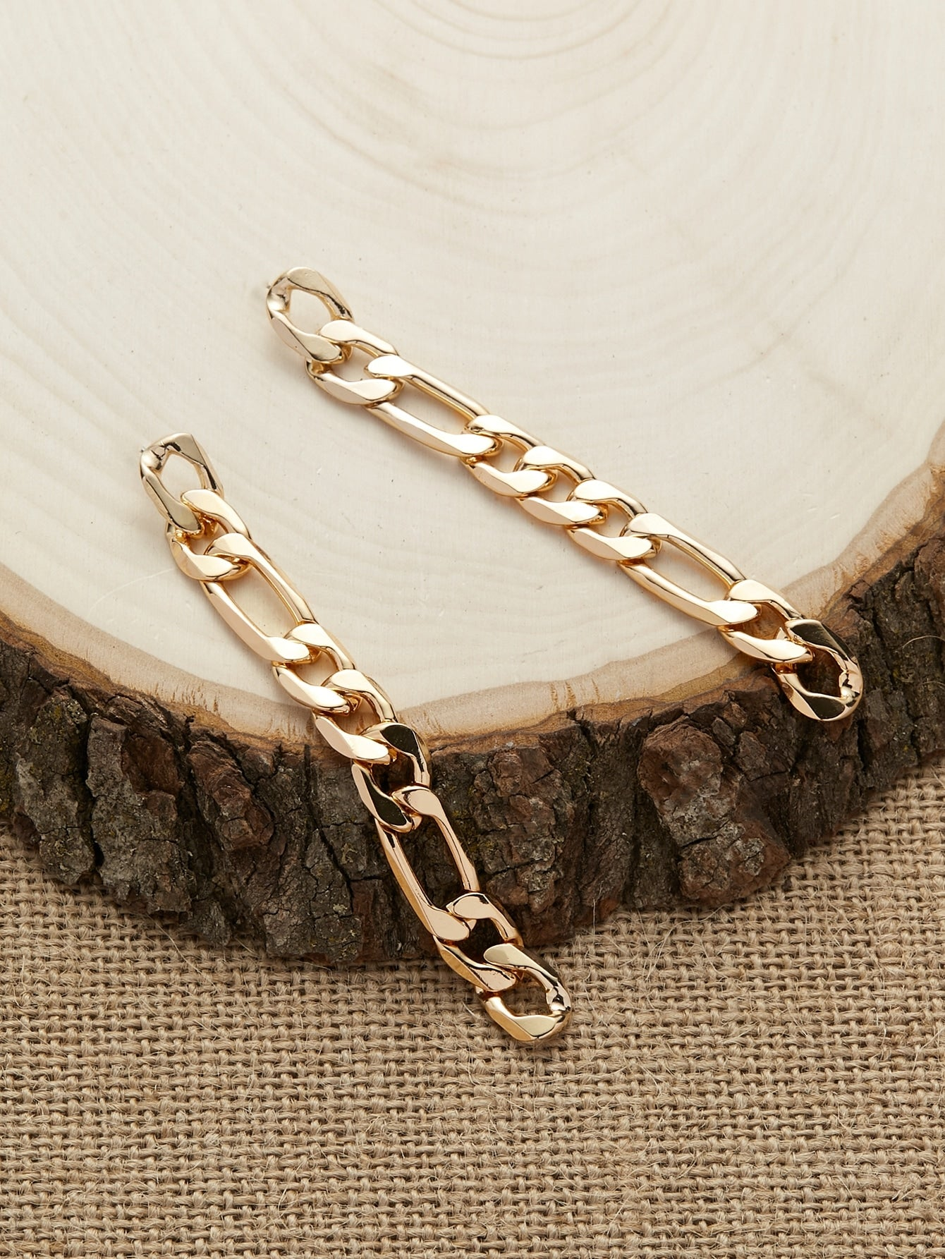 Golden Chain Link Stud Back Dangling Earrings
