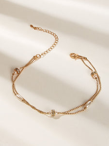 Golden Rhinestone Chain With Faux Pearl 1pc Anklet