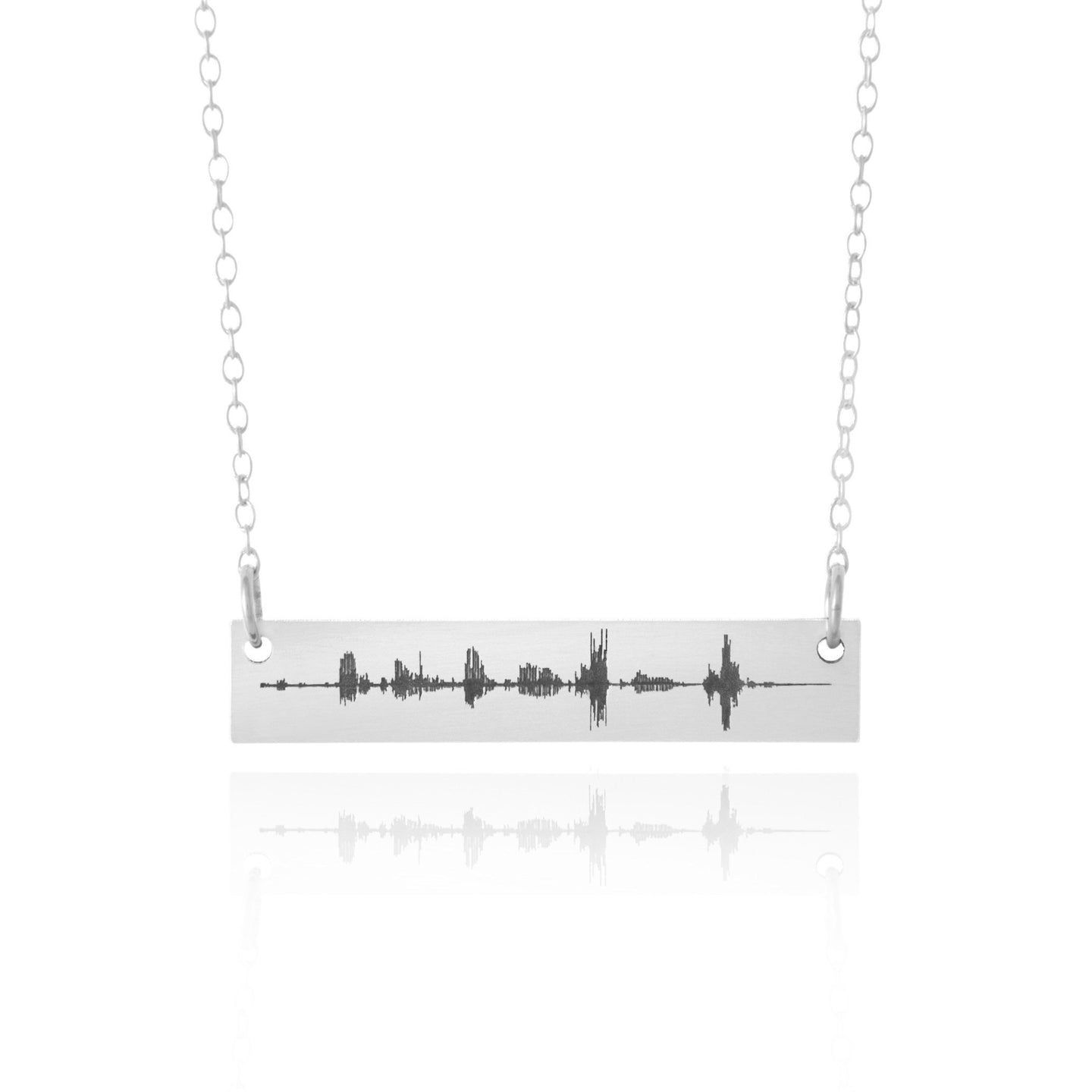 Custom Sound Wave Sterling Silver Chain Necklace