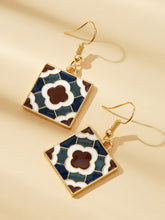 Load image into Gallery viewer, Multicolored Square Color-block Drop 1 Pair Earrings
