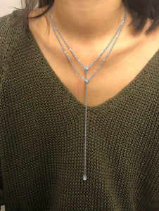 Grey, Gold Rhinestone Panel Layered Metal Chain Necklace