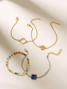 Multicolor Beaded Link 4pcs Glitter Detail Geometric Charm Gold Bracelet