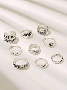 9pcs Grey Textured Shaped Ring