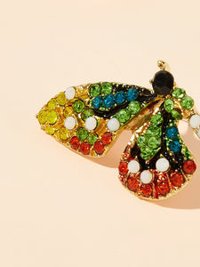 Multicolored Butterfly Shaped Gemstone Engraved 1 Pair Stud Earrings