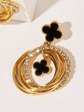 Load image into Gallery viewer, Layered Black Clover Detail Golden Ring Hoop Drop Dangle 1 Pair Earrings