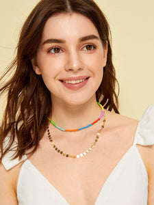 Multicolor 2 Piece Bead & Disc Design Necklace For Women