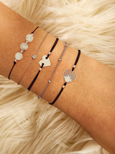 Black And Grey Shell & Heart 5pcs Bracelet Set