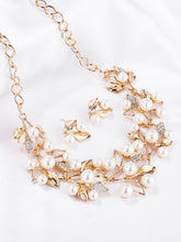 Load image into Gallery viewer, Golden Leaf With Faux Pearl 3 Pack Necklace & Earrings
